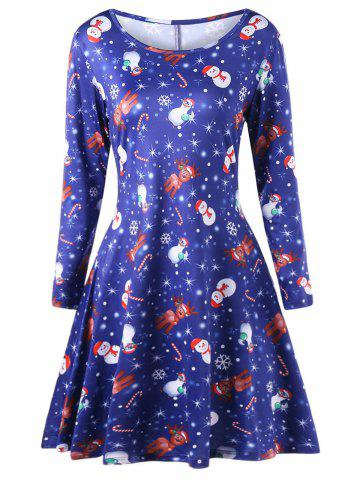 New Plus Size Elk Print Long Sleeve Christmas Dress BLUE 3XL