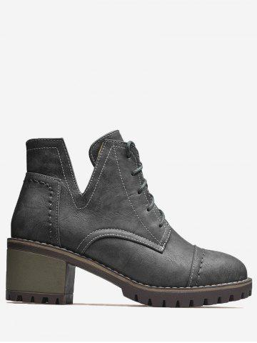 Shop Stitching Curve Chunky Heel Boots - 40 GRAY Mobile