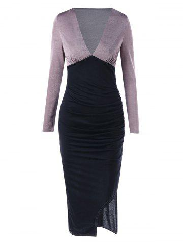 Latest Long Sleeve Plunging Neckline Midi Bodycon Dress - M BLACK Mobile