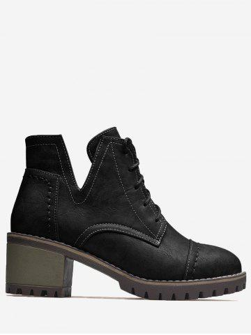 Best Stitching Curve Chunky Heel Boots BLACK 37