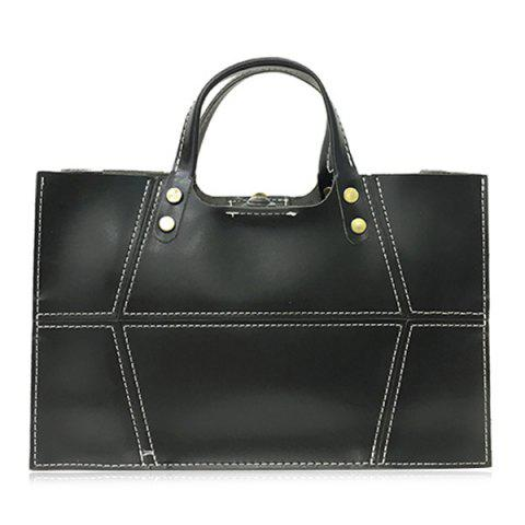 Latest 2 Pieces Stitching Handbag Set - BLACK  Mobile