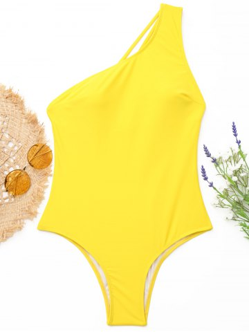 Buy One-Shoulder Strappy One-Piece Swimwear - S YELLOW Mobile