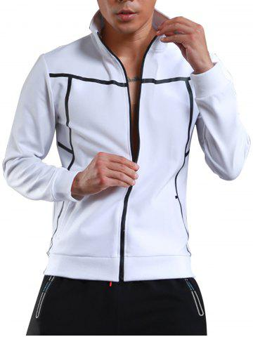 Trendy Stand Collar Zip Up Sports Track Jacket - L WHITE Mobile