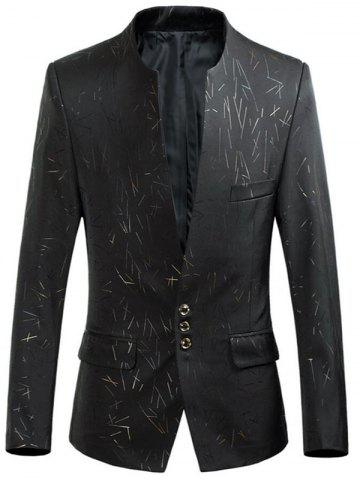 Fancy Collarless Single Breasted Printed Blazer - 4XL BLACK Mobile