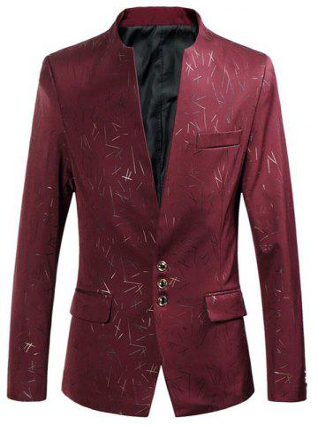 Unique Collarless Single Breasted Printed Blazer - 6XL RED Mobile
