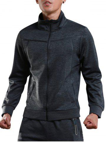 Discount Stand Collar Zip Up Sports Track Jacket GRAY 2XL