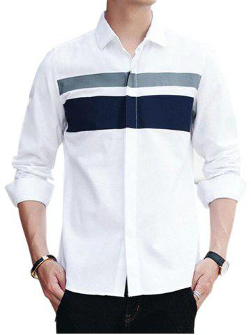 Online Covered Button Long Sleeve Striped Shirt - 3XL WHITE Mobile