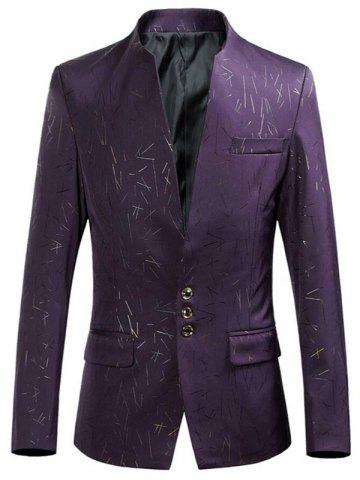 Shop Collarless Single Breasted Printed Blazer - XL PURPLE Mobile