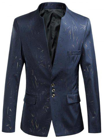 Shop Collarless Single Breasted Printed Blazer - 3XL CADETBLUE Mobile