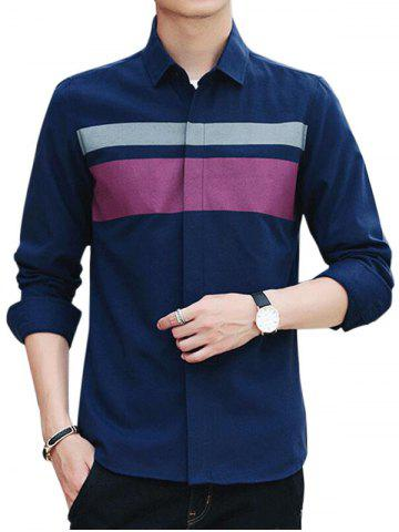 Trendy Covered Button Long Sleeve Striped Shirt - M CADETBLUE Mobile