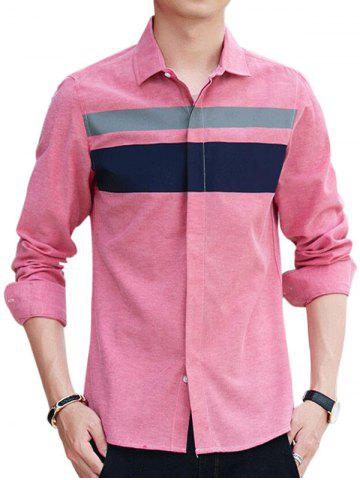 Online Covered Button Long Sleeve Striped Shirt PINK 2XL