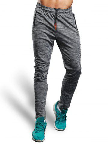 Sale Zip Pocket Straight Athletic Pants - XL GRAY Mobile