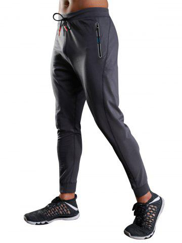 Discount Zip Slot Pockets Drawstring Sports Athletic Pants - M GRAY Mobile