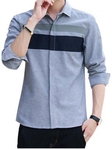 Fashion Covered Button Long Sleeve Striped Shirt - L GRAY Mobile