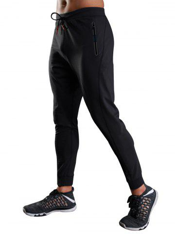 Hot Zip Slot Pockets Drawstring Sports Athletic Pants BLACK XL