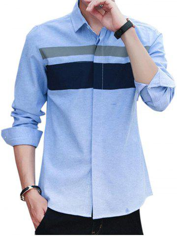 Affordable Covered Button Long Sleeve Striped Shirt - L WINDSOR BLUE Mobile