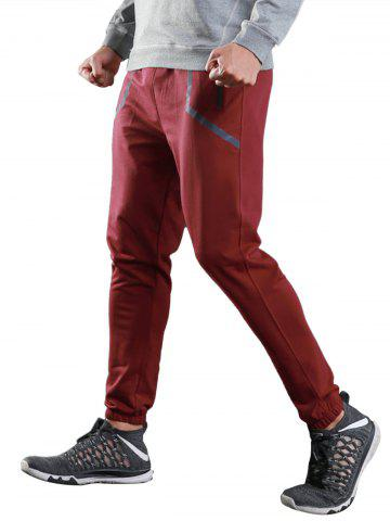 Chic Contrast Trim Jogger Sports Athletic Pants - XL RED Mobile