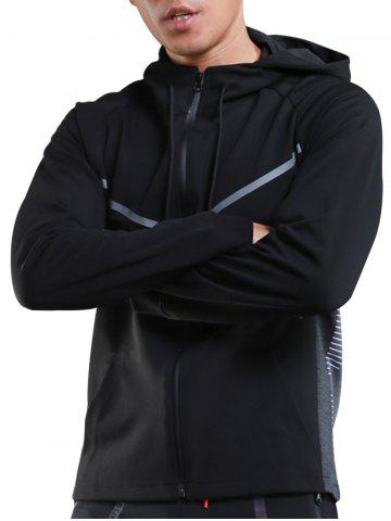 Buy Contrast Drawstring Hooded Sports Track Jacket - L BLACK Mobile