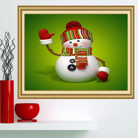 Chic Christmas Snowman Patterned Multifunction Wall Art Painting - 1PC:24*24 INCH( NO FRAME ) GREEN AND WHITE Mobile
