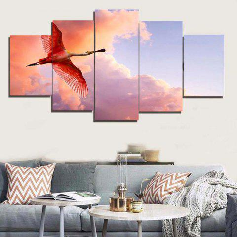 Hot Flying Flamingo Canvas Unframed Painting - 1PC:8*20,2PCS:8*12,2PCS:8*16 INCH( NO FRAME ) COLORFUL Mobile