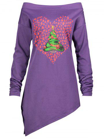 New Christmas Tree Heart Printed Asymmetrical Plus Size Tee PURPLE 3XL