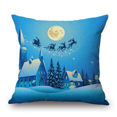 Cheap Christmas Moon Town Print Decorative Pillowcase - 45*45CM BLUE Mobile