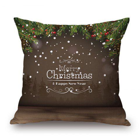Chic Merry Christmas Letter Print Decorative Pillowcase - 45*45CM DUN Mobile