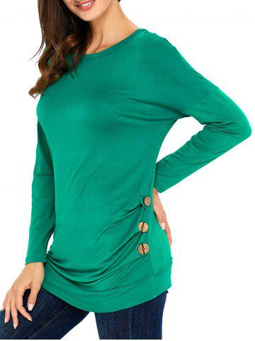 Best Long Sleeve Button Embellished Tunic Top GREEN S
