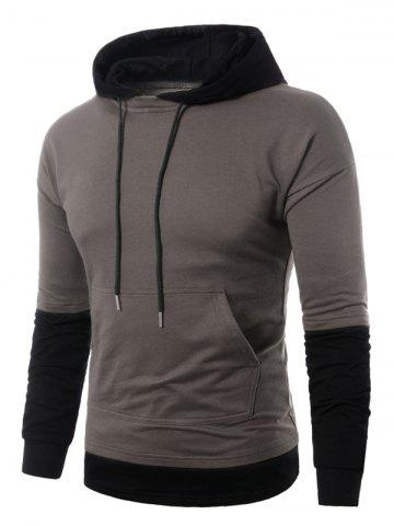 Best Faux Twinset Panel Pouch Pocket Pullover Hoodie GRAY L