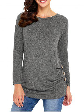 Trendy Long Sleeve Button Embellished Tunic Top GRAY M