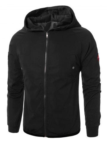 Discount Raglan Sleeve Appliques Zip Up Jacket - 3XL BLACK Mobile