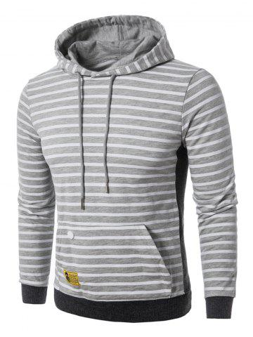 Discount Rib Panel Pouch Pocket Stripe Pullover Hoodie - XL STRIPE Mobile