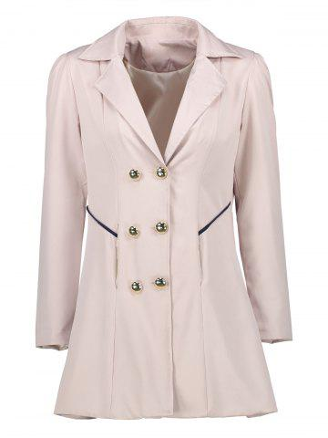 Affordable Double Breast Long Lapel Coat - 2XL KHAKI Mobile