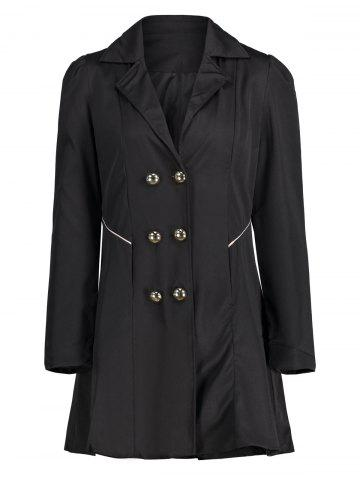 Unique Double Breast Long Lapel Coat