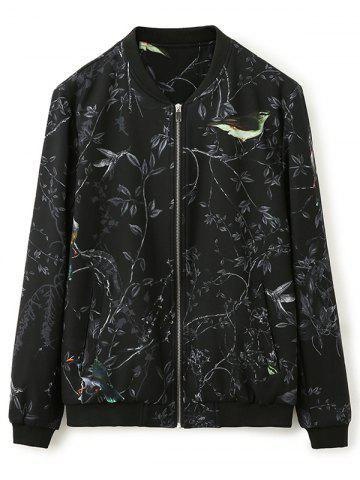 Outfit 3D Bird and Floral Print Zip Up Jacket BLACK 4XL
