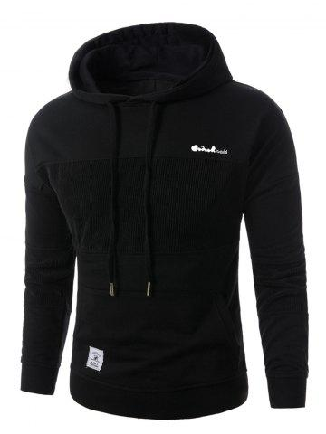Best Corduroy Panel Embroidered Pullover Hoodie - 2XL BLACK Mobile