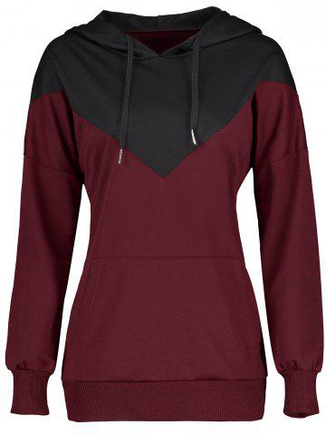 Shop Drawstring Color Block Kangaroo Pocket Hoodie - M WINE RED Mobile