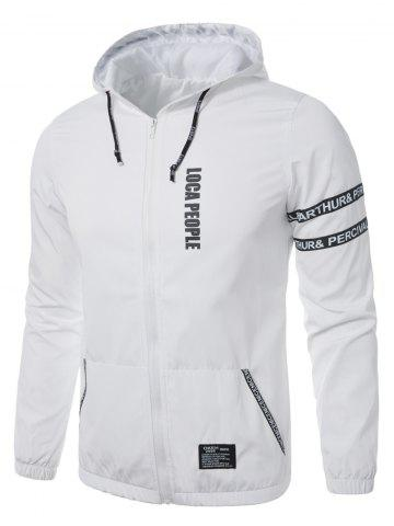 New Graphic Braid Embellished Zip Up Lightweight Jacket - L WHITE Mobile