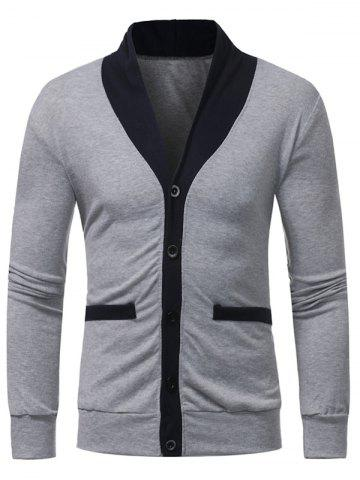 Hot Color Block Panel Button Up Cardigan - 2XL LIGHT GRAY Mobile
