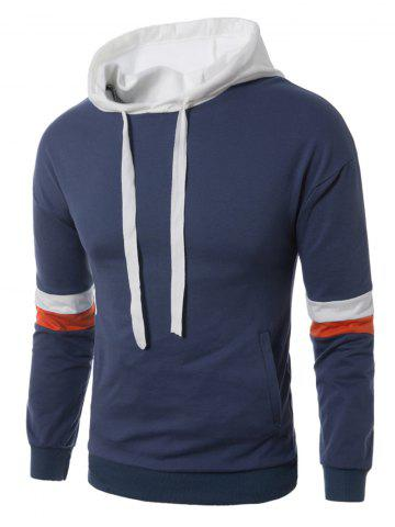 Unique Color Block Panel Drawstring Pullover Hoodie BLUE XL