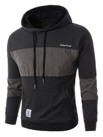 Sale Corduroy Panel Embroidered Pullover Hoodie - M GRAY Mobile