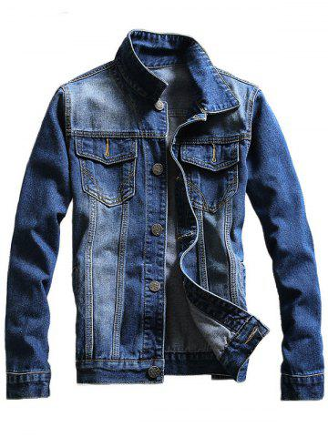 Best Chest Pocket Button Up Denim Jacket - 2XL BLUE Mobile