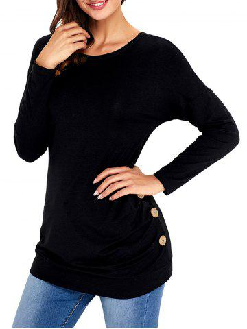 Cheap Long Sleeve Button Embellished Tunic Top BLACK S