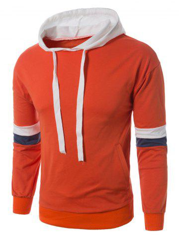 Online Color Block Panel Drawstring Pullover Hoodie - 5XL ORANGE Mobile