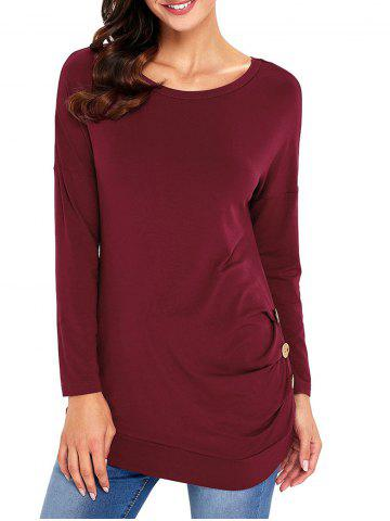 Shop Long Sleeve Button Embellished Tunic Top WINE RED XL