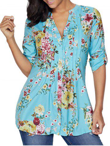 Outfits Pleated V Neck Floral Blouse LIGHT BLUE S