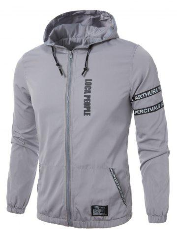 Affordable Graphic Braid Embellished Zip Up Lightweight Jacket - L GRAY Mobile