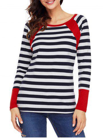 Sale Raglan Sleeve Striped Top - S RED Mobile