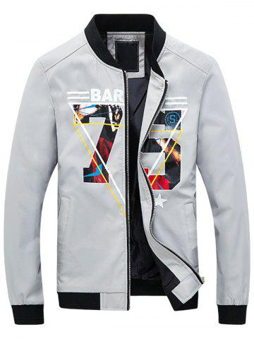 Shop 3D Geometric Graphic Print Zip Up Jacket GRAY L