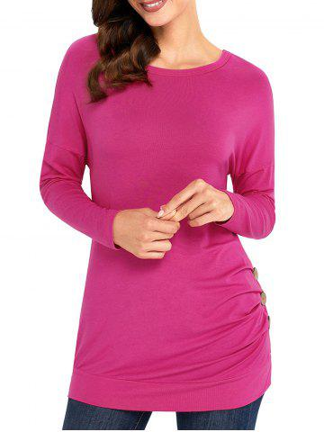 Trendy Long Sleeve Button Embellished Tunic Top ROSE RED XL